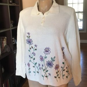 Alfred Dunner Embroidered Top 2X EUC